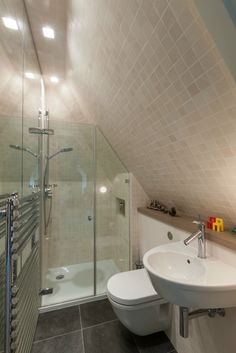 Adorable Cottage Design for Amazing Living Place: Tiny Hampstead House Bathroom Built In Attic With Glass Enclosed Shower Room Mini Toilet And Free Standing Sink ~ SFXit Design Villa Inspiration