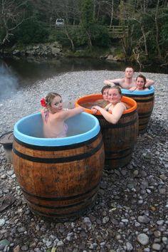 Wood Fired Whiskey Barrel Hot Tub. €3,500.00, via Etsy.