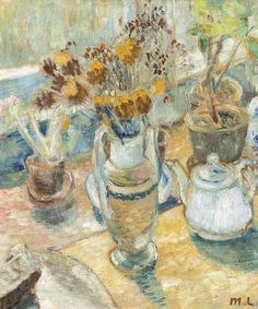MIKHAIL FEDOROVICH LARIONOV 1881-1964 STILL LIFE WITH FLOWERS AND DISHES signed with artist's initials in Latin (lower right); signed in Latin on the reverse. Oil on canvas 26 3/4 by 22 1/2 in.