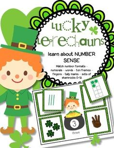 St. Patrick's Day Numbers - Lucky Leprechauns learn about NUMBER SENSE. Match number formats – numerals – words – ten frames – fingers – tally marks – sets of shamrocks 0-12. For early learners. 26 pages