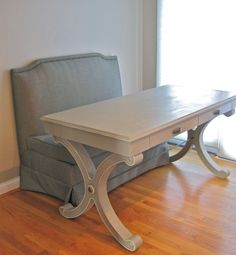 {Driven By Décor: Annie Sloan Chalk Paint Newbie Tips} Whitley desk in ivory from Ballard Designs painted French Linen