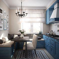 Кухонный уголок с ящиками для хранения: 70+ надежных и практичных моделей, которые комфортизируют интерьер кухни http://happymodern.ru/kuxonnyj-ugolok-s-yashhikami-dlya-xraneniya/ Кухонный гарнитур, изготовленный из ДСП цвета индиго