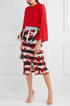 Alice Olivia - Pasha Corded Lace Top - Red - x small