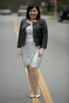 Silver sequined wrap style dress from Adrianna Papell with an ASOS faux leather moto jacket, HOBO bag and Nine West pumps.  By Wardrobe Oxygen, an over 40 fashion and personal style blog