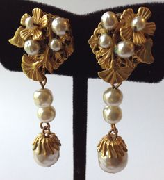 SPECTACULAR VINTAGE MIRIAM HASKELL SIGNED DANGLING PEARL EARRINGS UB6 #MiriamHaskell