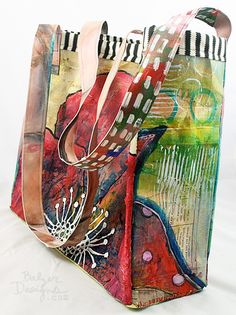 Art tote made from recycled old canvases, I love this idea! Balzer Designs - Handbag