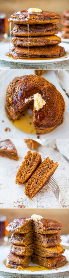Soft and Fluffy Gingerbread Pancakes with Ginger Molasses Maple Syrup - Pancakes that taste like gingerbread cookies without the work!