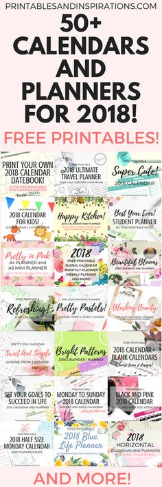 Free printable calendars and planners for 2018, 2018 planner printables, 2018 calendar, half size calendar, monthly planner pages