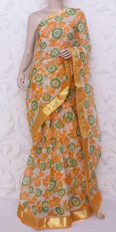 Printed JP Kota Saree (Cotton-Zari Border) 12579 Indian Attire, Indian Wear, Indian Outfits, Function Dresses, Kota Sarees, Cotton Sarees Online, Indian Look, Saree Shopping, Casual Saree