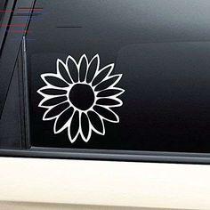 Flower Vinyl Decal Sticker - White- Die Cut Decal Bumper Sticker For Windows, Cars, Trucks, Laptops, Cool Car Stickers, Bumper Stickers, Custom Stickers, Yeti Decals, Vinyl Decals, American Flag Decal, Car Interior Accessories, Truck Decals, Waterproof Stickers