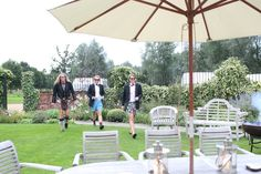 garden barn birthday party photography, men in shorts and dinner jackets