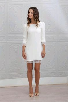 short lace bride dress