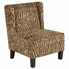 "Bring a pop of pattern to your living room or master suite with this armless accent chair, showcasing a wingback design and leopard-print motif.  Product: Chair    Construction Material: Fabric, foam and solid wood    Color: Warm brown and beige    Features:Animal-print fabricArmless designProvides seating in areas where space is a premium    Dimensions: 35.25"" H x 26.5"" W x 30"" D    Cleaning and Care: Spot clean with upholstery shampoo, foam from mild detergent, or mild dry cleaning ..."
