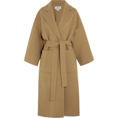 Loewe Belted wool and cashmere-blend coat (7,970 AED) ❤ liked on Polyvore featuring outerwear, coats, loewe, reversible coats, oversized coat, woolen coat, brown coat and camel wool coat