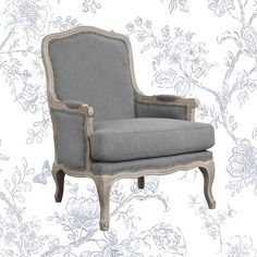 Kelly Clarkson Home Bransford Armchair Fabric: Slate French Country Crafts, French Country Living Room, Country Bedrooms, French Decor, Gray Dining Chairs, Accent Chairs, Rustic Apartment, French Apartment, Curved Wood