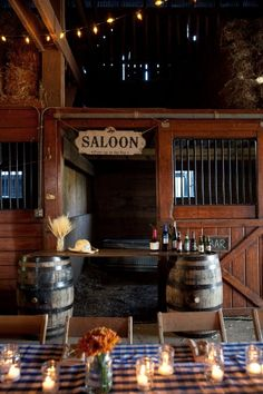 I love the bar made with barrels and the blue check
