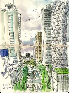 View of Shinjuku from Odakyu department store by kumi matsukawa, via Flickr Shinjuku Gyoen, Neon Jungle, Isetan, Urban Sketchers, Department Store, Art Journals, Sketchbooks, Junk Journal, Sketching