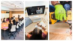 Fysiek onderwijs, online onderwijs en leren in de praktijk: dat is hybride onderwijs. Je kunt het versterken met de Office 365 apps. Conference Room, Apps, App, Appliques