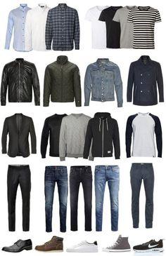 Ideias de combinações de roupas, de um armário-cápsula. Capsule Wardrobe Casual, Mens Wardrobe Essentials, Men's Wardrobe, Minimalist Wardrobe Men, Minimalist Fashion, Minimalist Style, Minimalist Clothing, Minimal Wardrobe, Minimalist Wardrobe Essentials