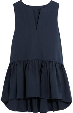 Tibi - Seersucker Cotton-blend Peplum Top - Navy