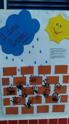 A dona aranha subiu pela parede veio a chuva forte e a derrubou.... Alunos do Maternal I (matutino e vespertino) cantaram a música da don... Nursery Rhymes Preschool, Preschool Crafts, Teacher Classroom Decorations, St Thomas, Toddler Activities, Professor, Teaching, Halloween, Creative