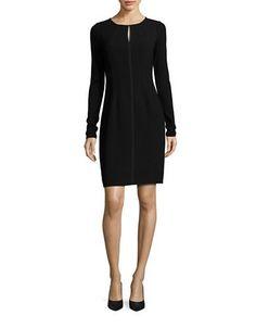 Elie Tahari Solid Long Sleeve Dress Women's Black 12