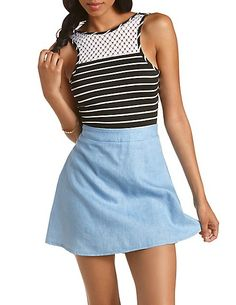 Caged & Crochet Striped Bodysuit: Charlotte Russe #bodysuit #stripes