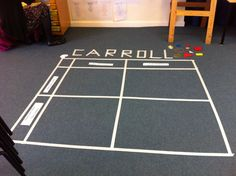 Carroll diagrams using masking tape on floor.  OfSTED liked it