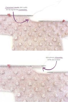 Jersey de punto Popcorn de bebé tejido a dos agujas DIY - Tutorial y patrón animaux mignon fille garçon metisse montessori naissance Baby Knitting Patterns, Knitting For Kids, Free Knitting, Pull Bebe, Pop Corn, Popcorn Stitch, Knit Baby Sweaters, Baby Coat, Baby Cardigan