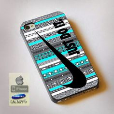 "Nike Just Do It on Aztec Mint Pattern Print On Hard Plastic For iPhone 4/4s, Black Case  This case is available for: iPhone 4/4S iPhone 5/5S iPhone 6 4.7"" screen Samsung Galaxy S4 Samsung Galaxy S5 iP"