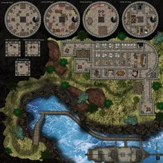 Prison tower map with escape route to the docks. 50x50 units 3500x3500 pixels. - Imgur
