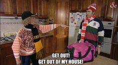 A caption from an iconic Australian TV series, Kath & Kim Kim Tv, Richmond Football Club, Aussie Memes, My Babysitter, Australia Funny, Clap Back, Book Tv, Reaction Pictures, Cute Photos