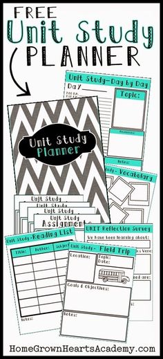 Homegrown Hearts Academy has a FREE Unit Study Planner. Use this to plan and organize your unit studies.    Here is FHD's large collection of free