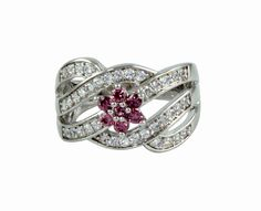 RODO LOOK  STONE & CZ WHITE GOLD PLATED RING FASHION JEWELRY 8.0 US NO. 10349ROS