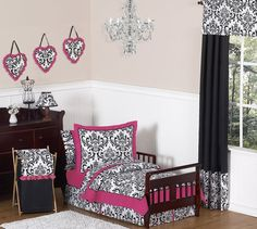 Hot Pink, Black and White Isabella Girls Toddler Bedding by JoJO Designs 5pc Set, $89.99; final bedding option, I promise! Good balance of other two