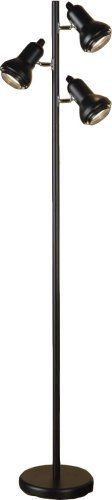 """Normande Lighting JS1-111 Trac 3-Light Tree Lamp, Black by Normande Lighting. $39.99. Trac tree floor lamp has 3 separate adjustable lights so you can direct light where needed. Each light has a separate switch so you can use one at a time or all 3 for maximum light output. Measures 64"""" in height and uses standard 60W incandescent bulbs."""