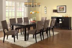 Alexis Espresso Finish Dining Table + 8 Chairs &  Server - $741 + $441 = $1192.        http://www.lvfurniture2go.com/product_detail.php?pid=2435
