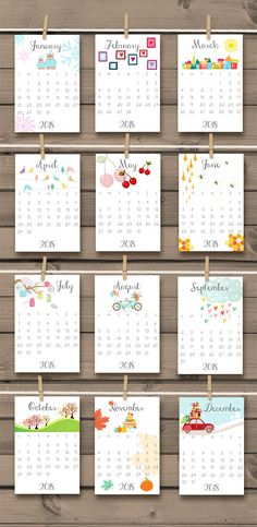 ♥ A cheerful printable calendar for 2017 & 2018, full with hand drawn illustrations to make you smile every day :-) Also great as a gift! You will receive READY-TO-PRINT DIGITAL files that you can print at home or in any local or online print shop! This listing is for an INSTANT