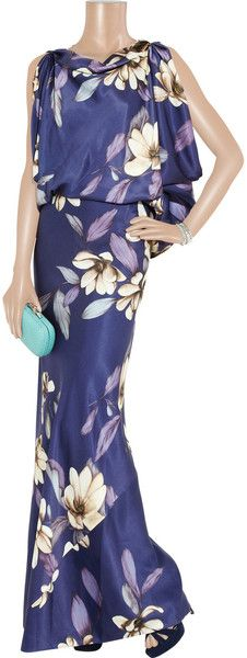 Purples and magnolia floral satin charmeuse silk gown. Blouson top with draped armholes. Hip-hugging bias-cut long skirt. By Temperley London