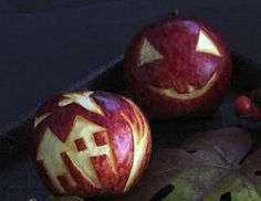 Carved Scary Apples
