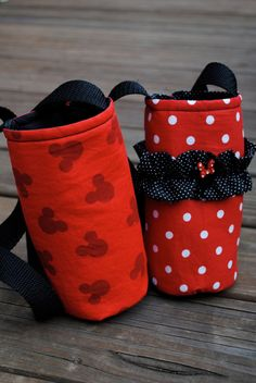 Water Bottles for Disney. What a cute idea for a water bottle holder.