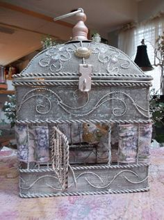 Vintage detailed metal bird cage re design hand painted with fancy bird Decorative Bird Houses, Decorative Items, Metal Birds, Bird Cages, Vintage Fishing, Bird Feathers, Beautiful Birds, Hand Painted, Birdhouses