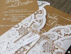 Imagens de Convite de casamento feito em papel kraft e papel rendado - AboutLove