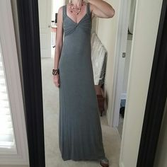 """Max Studio maxi dress Very flattering Max Studio maxi dress. Grey. Rusching around the bust and around the top of the back. 95 rayon 5 spandex. Size S. NWT. For reference, I am 5'6""""ish and have on 5"""" platform heels. Max Studio Dresses Maxi"""