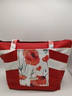 Sac Biguine rouge, blanc et coquelicots cousu par Fabienne - Patron Sacôtin