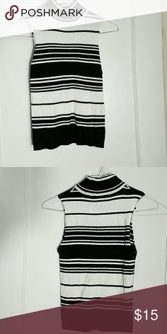 Rue21 black and white Stretchy turtle neck sleeveless black and white horizontal, no stains or tears. Rue21 Tops Tank Tops