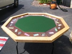 This custom octagon is made with a solid maple rail and walnut plywood racetrack. Poker Table Diy, Diy Table, Woodworking Workbench, Woodworking Ideas, Cedar Table, Walnut Plywood, Table Cards, Design Shop, Man Cave