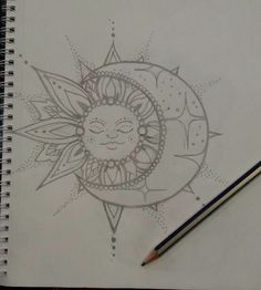 Sketch done soon to tattoo Tattoo Shop in Granada. We love the simplicity and the significant burden of this design in Granada Tattoo Shop. Duality is something we like, we invade us Moon Sun Tattoo, Sun Tattoos, Body Art Tattoos, Tattoo Drawings, Small Tattoos, Sun Moon, Tatoos, Moon Drawing, Mandala Drawing