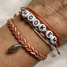 UT HOOK EM Horns Charm Bracelet Set, Stackable String Charm Bracelet, Pura Vida Style Bracelet, University of Texas Longhorn Jewelry by BeachyBraceletsByJJ on Etsy