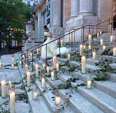 Beautiful detail - decorating the steps to the ceremony with candles and greenery ~ White Orchid Wedding ~ Weddingish